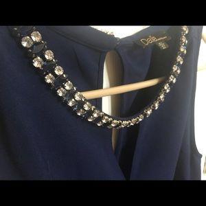 Navy blue blouse w/ gem neckline